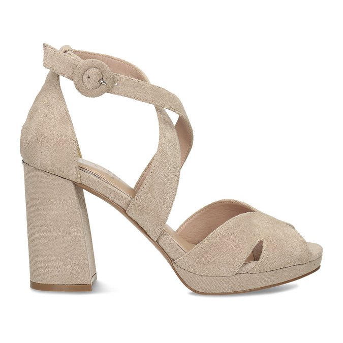 Béžové sandály na vysokém podpatku insolia, béžová, 769-8605 - 19