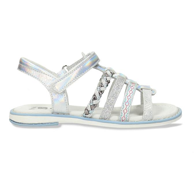 Kožené dívčí sandály kožené mini-b, stříbrná, 361-9616 - 19