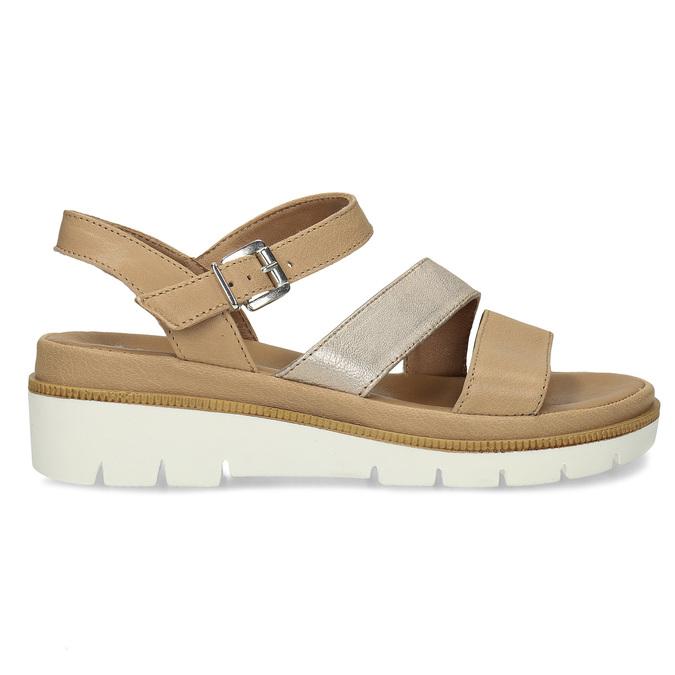 Béžové dámské kožené sandály na platformě bata, béžová, 564-8603 - 19