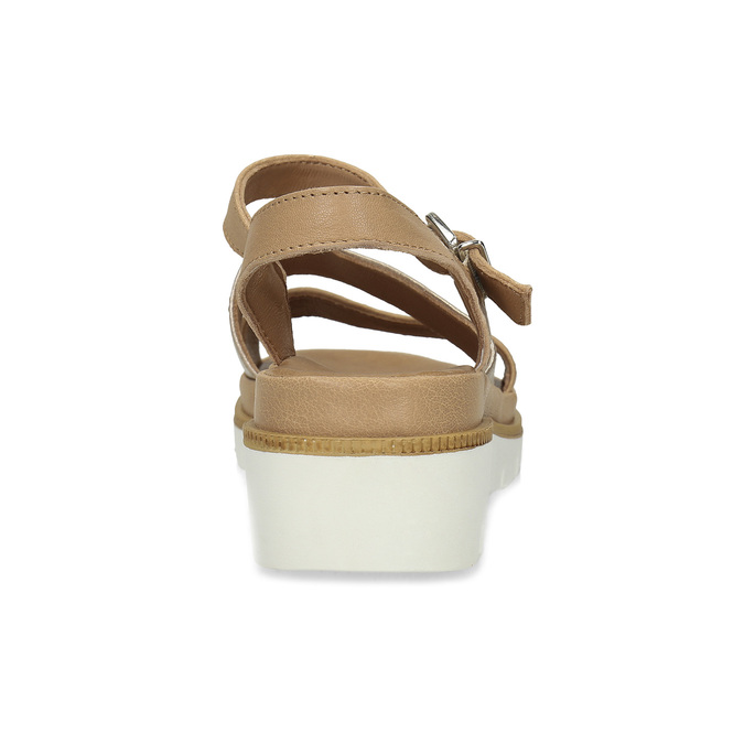 Béžové dámské kožené sandály na platformě bata, béžová, 564-8603 - 15