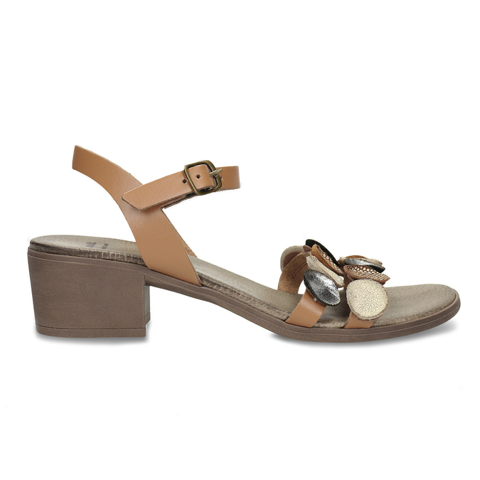 Světle hnědé dámské kožené sandály bata, hnědá, 664-4615 - 19