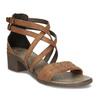 Hnědé dámské kožené páskové sandály bata, hnědá, 664-4614 - 13