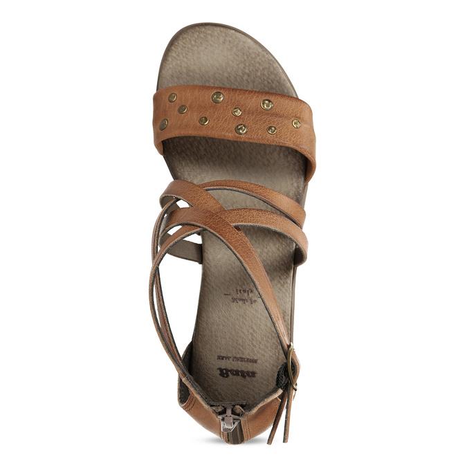 Hnědé dámské kožené páskové sandály bata, hnědá, 664-4614 - 17
