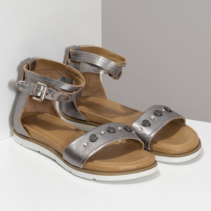 Stříbrné dámské kožené sandály s kamínky bata, stříbrná, 564-1614 - 26