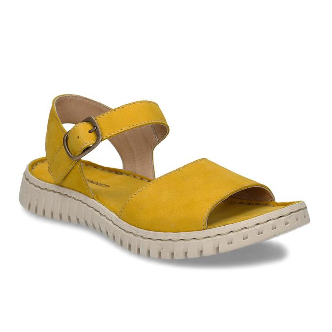 Žluté dámské kožené sandály s flexibilní podešví weinbrenner, žlutá, 566-8623 - 13