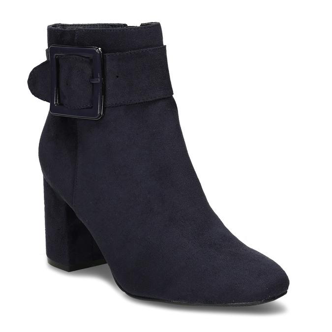 Modrá dámská kotníková obuv na podpatku bata, modrá, 799-9612 - 13