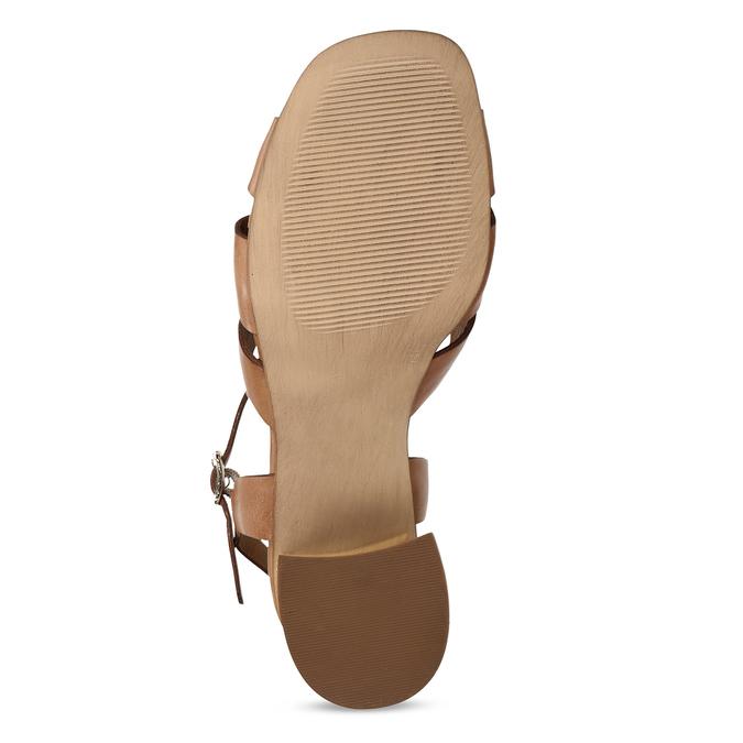 Hnědé dámské kožené sandály na širokém podpatku bata, hnědá, 764-4600 - 18