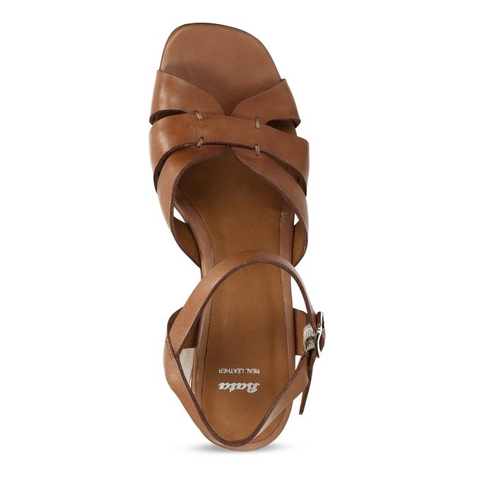 Hnědé dámské kožené sandály na širokém podpatku bata, hnědá, 764-4600 - 17