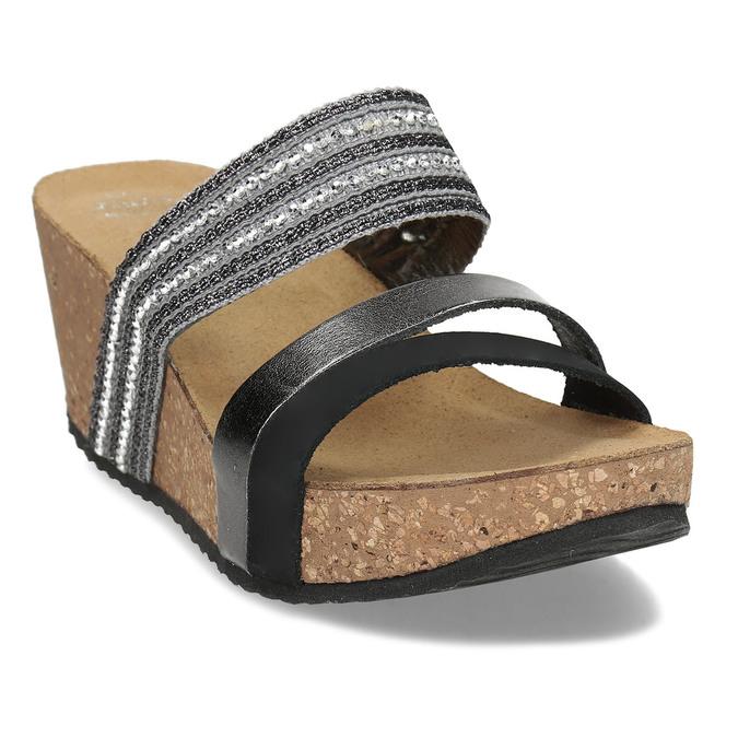 Šedé dámské kožené pantofle na platformě bata, černá, 766-6604 - 13
