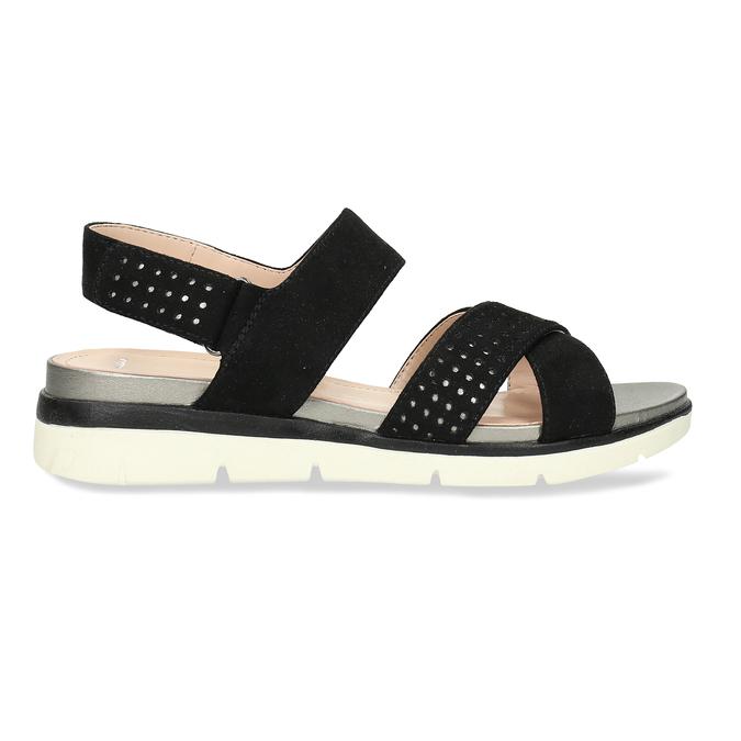 Dámské černé sandály na suchý zip bata, černá, 569-6605 - 19