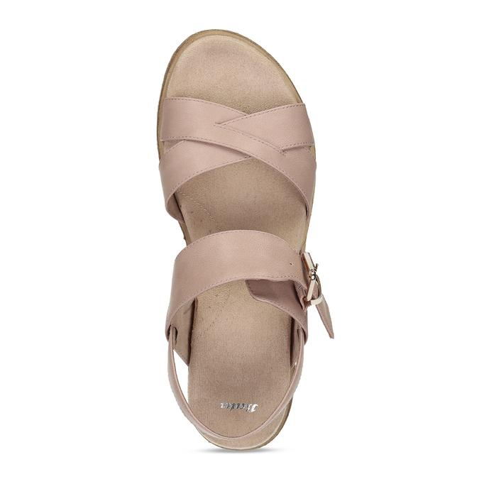 Dámské růžové páskové sandály bata, béžová, 561-5605 - 17