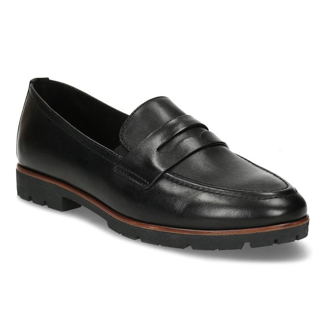 MOKASÍNY DÁMSKÉ ČERNÉ KOŽENÉ S DŘEVĚNÝM LEMEM bata, černá, 534-6603 - 13