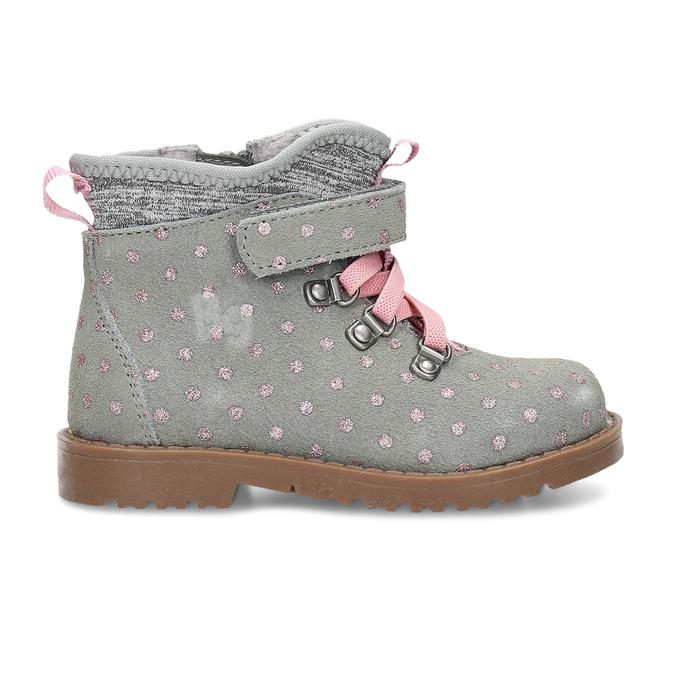 Kotníková dětská obuv s puntíky bubblegummers, šedá, 124-2725 - 19