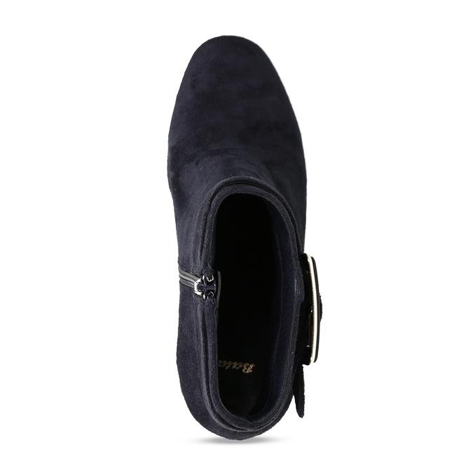 Modrá dámská kotníková obuv na podpatku bata, modrá, 799-9612 - 17