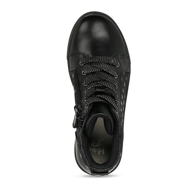 Černé dívčí kotníkové tenisky s hvězdami mini-b, černá, 221-6603 - 17