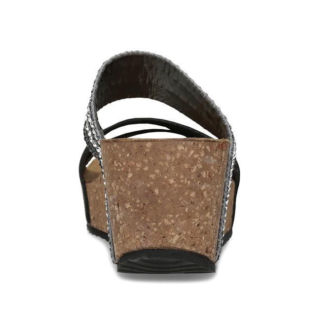 Šedé dámské kožené pantofle na platformě bata, černá, 766-6604 - 15