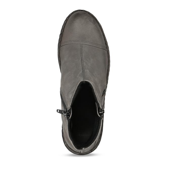 Dámské kotníkové boty z šedé kůže bata, šedá, 596-2609 - 17