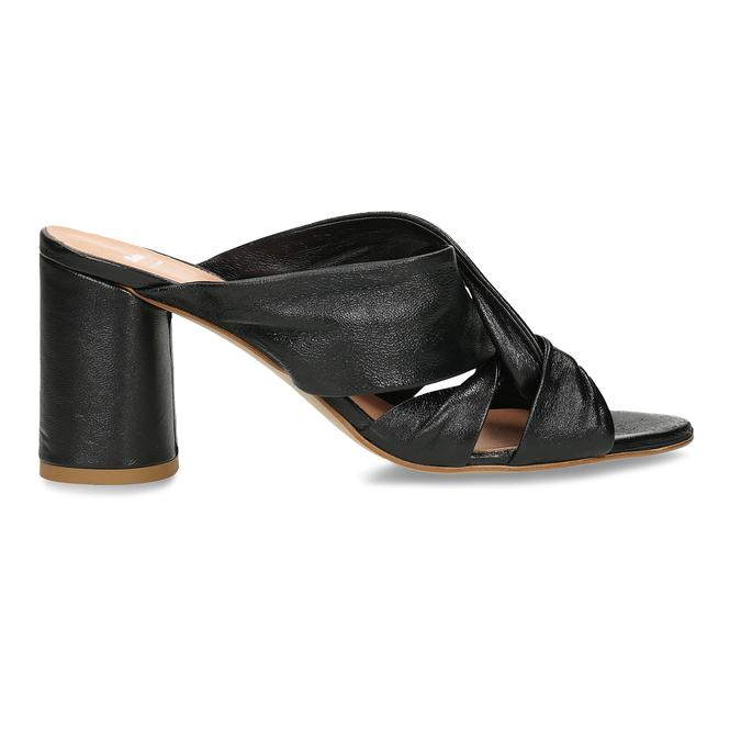 Černé kožené dámské pantfle na podpatku bata, černá, 764-6610 - 19
