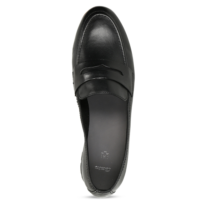 MOKASÍNY DÁMSKÉ ČERNÉ KOŽENÉ S DŘEVĚNÝM LEMEM bata, černá, 534-6603 - 17