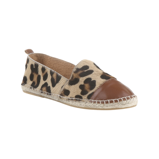 Výjimečné espadrilky s motivem leopardí kůže bata, hnědá, 2018-555-4300 - 13