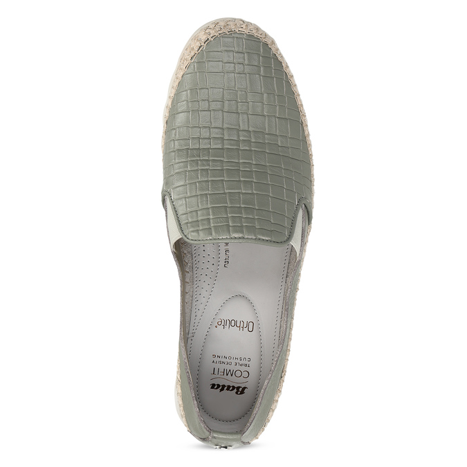 Zelená kožená dámská slip-on obuv comfit, zelená, 524-7604 - 17