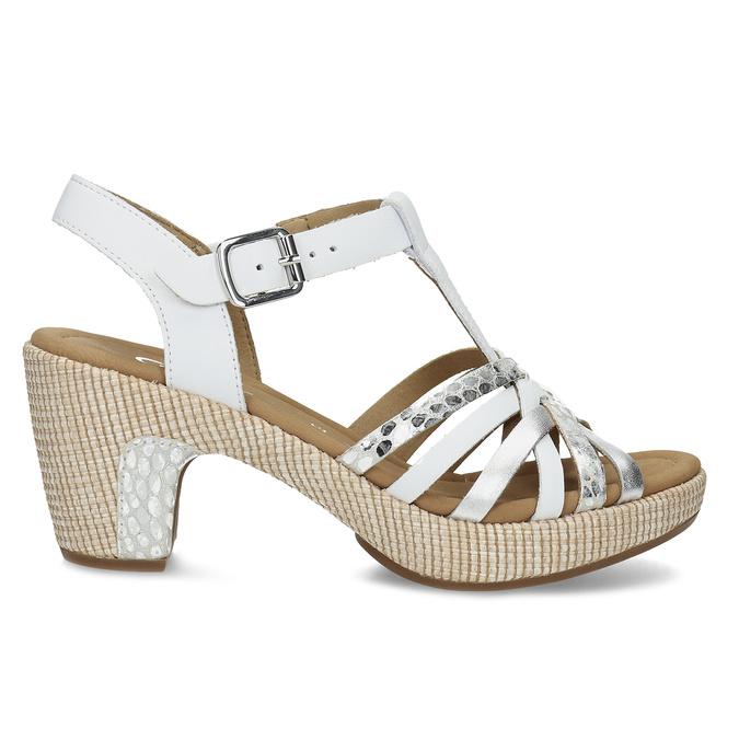 Kožené dámské sandály na podpatku gabor, bílá, 666-1101 - 19