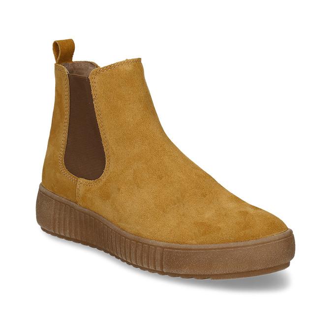 Žlutá kožená dámská kotníková Chelsea obuv bata, žlutá, 593-8615 - 13