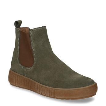 Zelená dámská kožená kotníková obuv bata, zelená, 593-7615 - 13