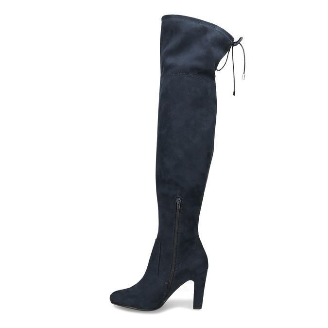 Modré dámské kozačky nad kolena bata, modrá, 799-9600 - 17