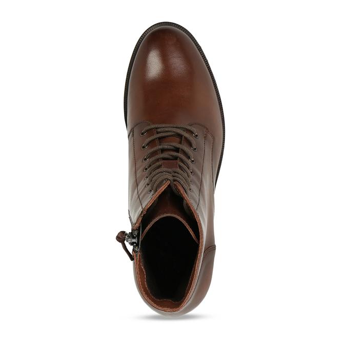 Šněrovací dámská obuv na podpatku v hnědé kůži bata, hnědá, 694-4620 - 17