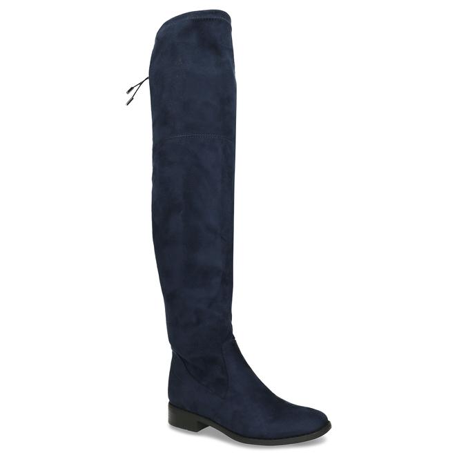Tmavě modré vysoké kozačky na tenké podešvi bata, modrá, 599-9601 - 13