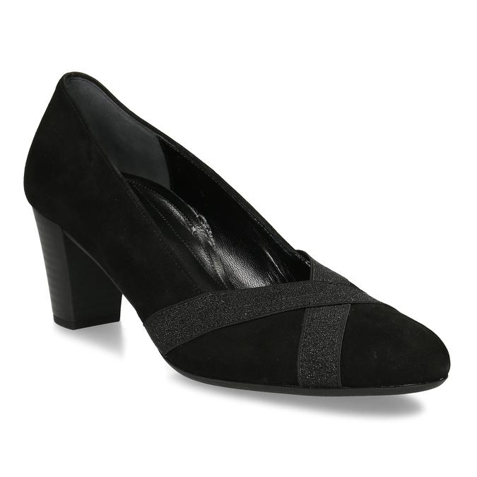 Černé kožené dámské lodičky gabor, černá, 623-6106 - 13