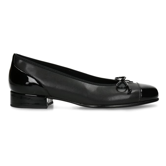 Černé baleríny s nízkým podpatkem s koženou stélkou gabor, černá, 621-6101 - 19