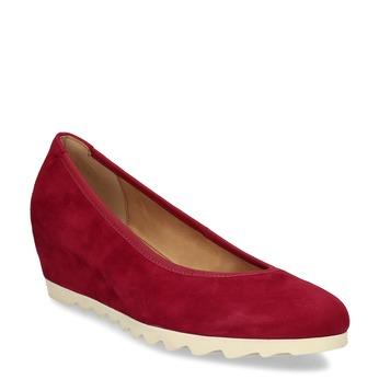 Červené dámské lodičky na klínku z broušené kůže gabor, červená, 623-5105 - 13