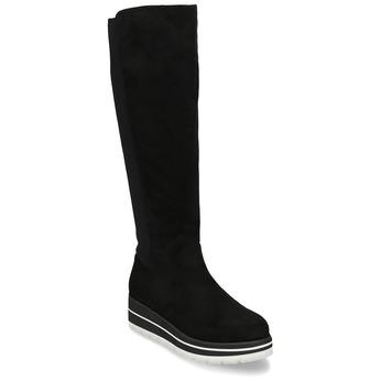 Vysoké černé kozačky na bílé platformě bata, černá, 599-6612 - 13