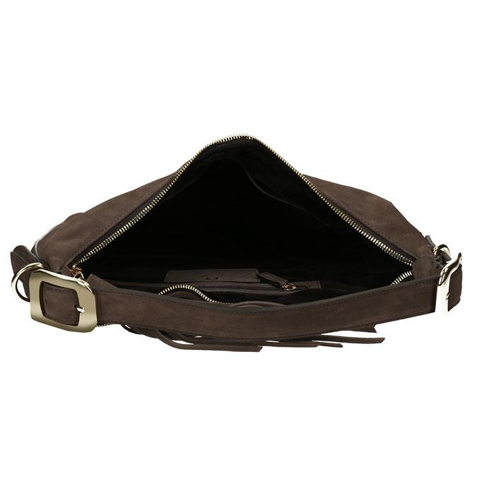 Tmavěhnědá kožená kabelka s třásní hogl, hnědá, 963-4601 - 15