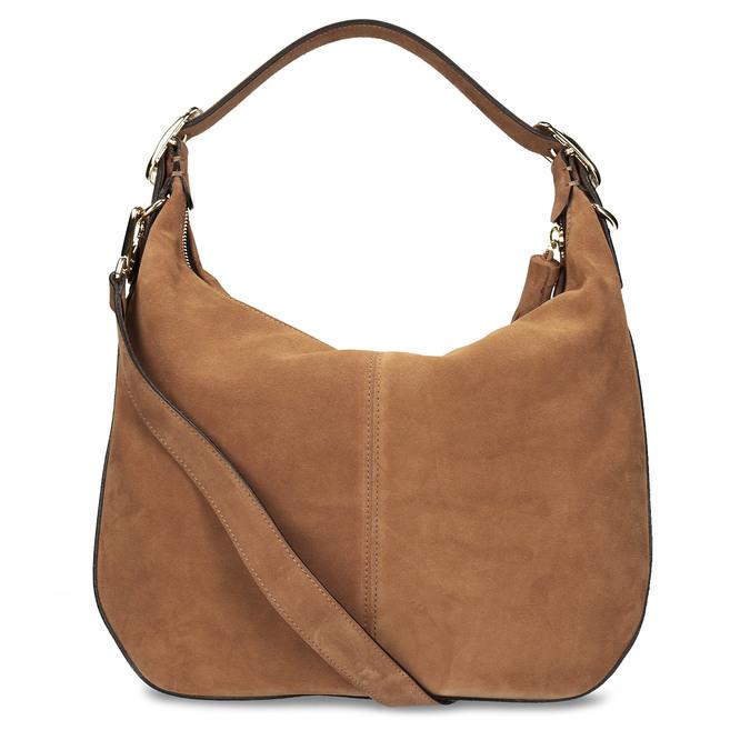 Světlehnědá kožená kabelka s třásní hogl, béžová, 963-3601 - 16