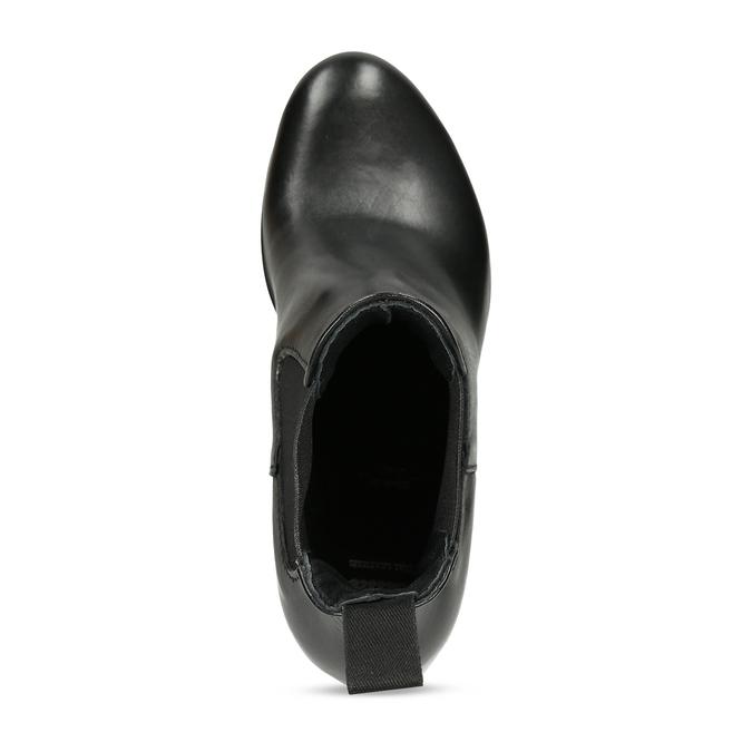 Vyšší černá kožená kotníková obuv s pružením bata, černá, 694-6660 - 17