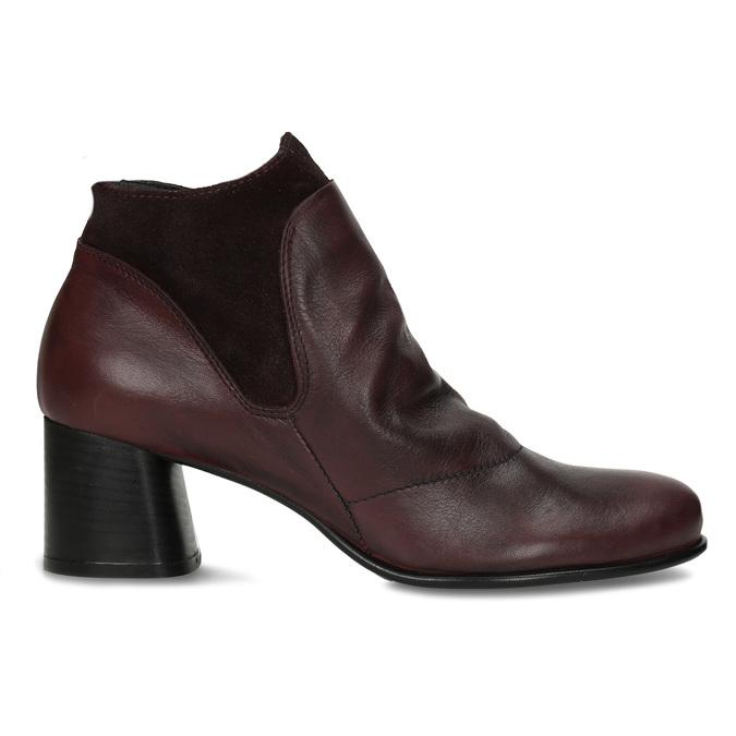 Vínová kožená dámská kotníková obuv s řasením na nártu bata, červená, 696-5612 - 19