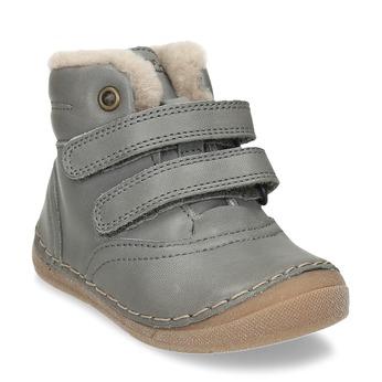 Dětská šedá kožená kotníková zimní obuv froddo, šedá, 194-2610 - 13