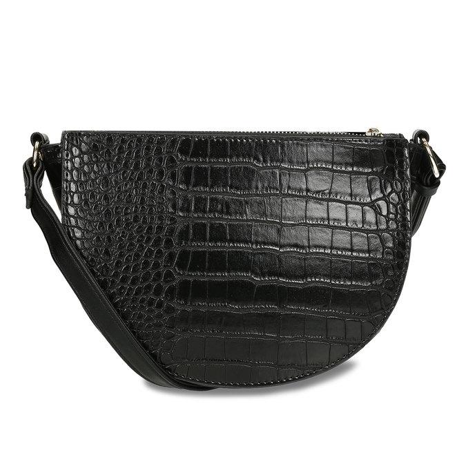Lesklá půlkulatá kabelka s hadí texturou gabor, černá, 961-6845 - 16