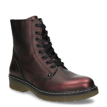 Metalicky červená kožená dívčí kotníková obuv bullboxer, červená, 424-5605 - 13