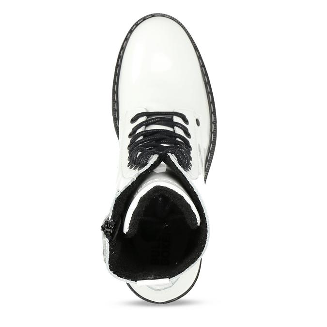 Bílá lakovaná kožená dívčí kotníková obuv bullboxer, bílá, 424-1605 - 17