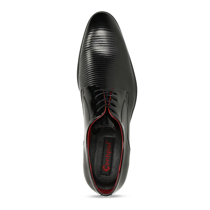 Pánská kožená společenská obuv se stylovou červenou podšívkou conhpol, černá, 828-6741 - 17