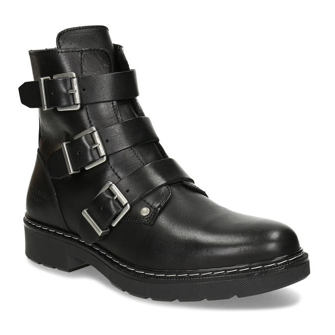 Černá dívčí kožená kotníková obuv s výraznými přezkami bullboxer, černá, 424-6607 - 13