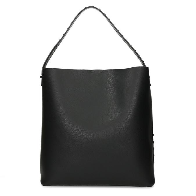 Čtvercová dámská kabelka s kováním bata, černá, 961-6308 - 16