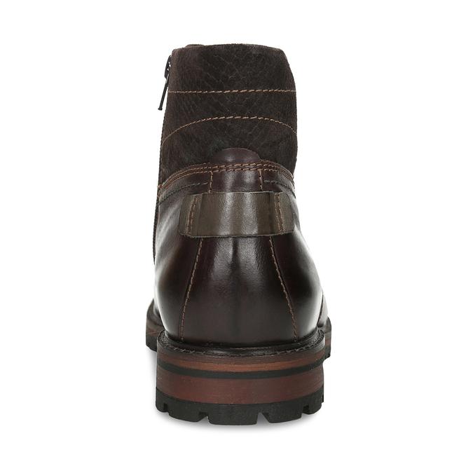 Pánská kotníková obuv z tmavě hnědé kůže bata, hnědá, 896-4615 - 15