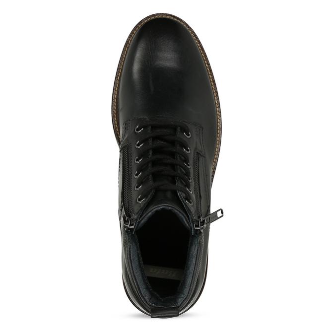 Pánská kotníková obuv v černé kůži a zipy na stranách bata, černá, 894-6610 - 17