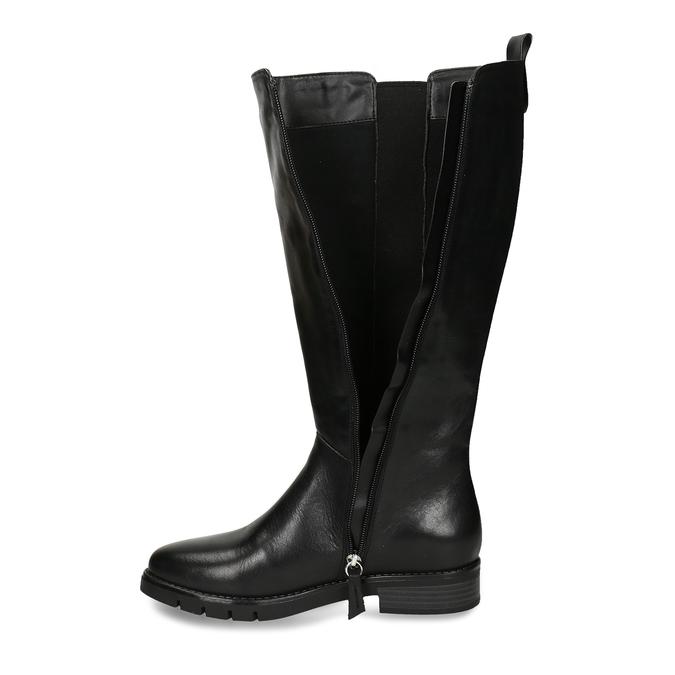 Černé dámské kožené kozačky flexible, černá, 594-6724 - 17