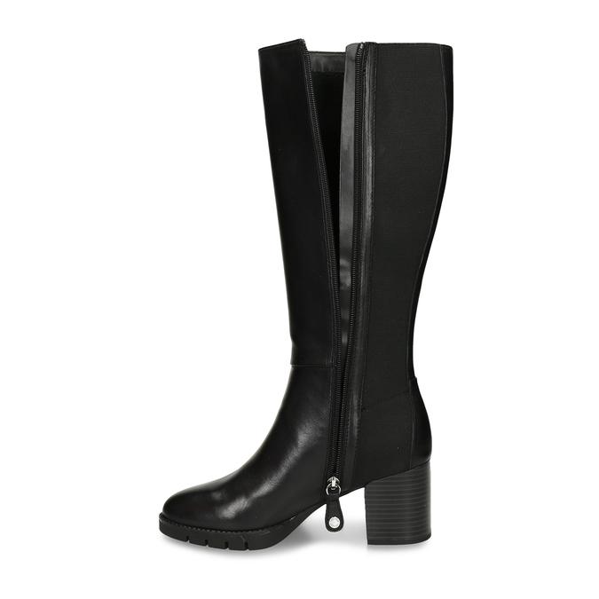 Černé dámské kožené kozačky flexible, černá, 794-6633 - 17
